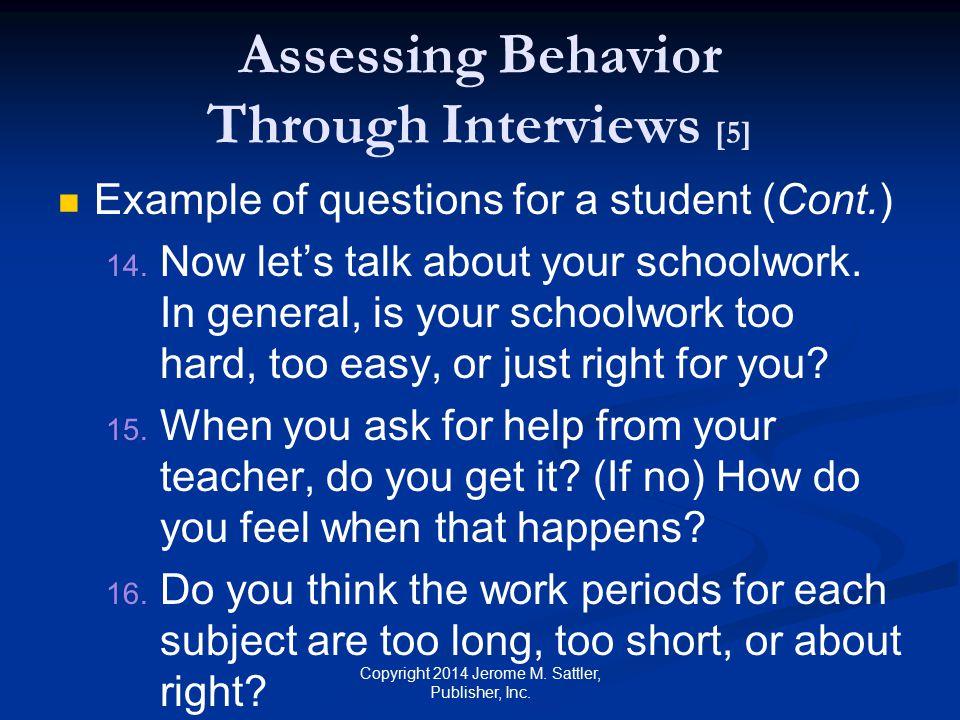 Assessing Behavior Through Interviews [5]